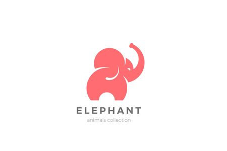 Elephant Logo abstract silhouette design vector template. Mammoth Logotype concept icon.
