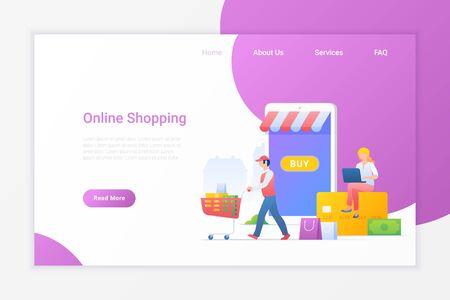 Online Shopping Flat vector illustration concept. Girl sitting on bank card and buying with notebook at Mobile web shop store with delivery service. 向量圖像