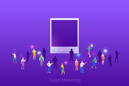 Target focus group audience for Photo Images Content Marketing Advertising Flat vector illustration concept. Targeting in Crowd of People.