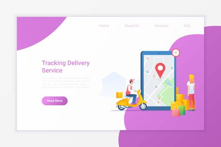 Tracking Delivery of your Package box Online with Smartphone Flat vector illustration. Woman looking on Mobile phone for delivery status of Courier on Motorbike.