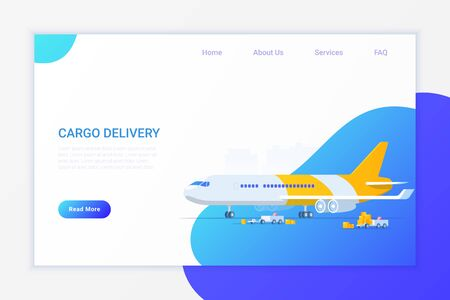 Cargo Airplane loading with Containers Flat vector illustration. Delivery Shipment concept.