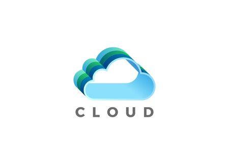 Cloud computing design vector template. Data Storage network technology icon. 向量圖像