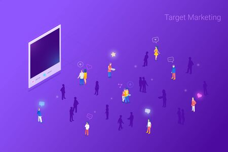 Target focus group audience for Photo Images Content Marketing Advertising Flat Isometric vector illustration concept. Targeting in Crowd of People.