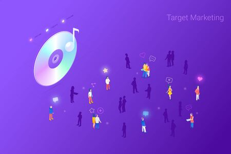 Target focus group audience for Music Stream Songs Content Marketing Advertising Isometric Flat vector illustration concept. Targeting in Crowd of People. Иллюстрация