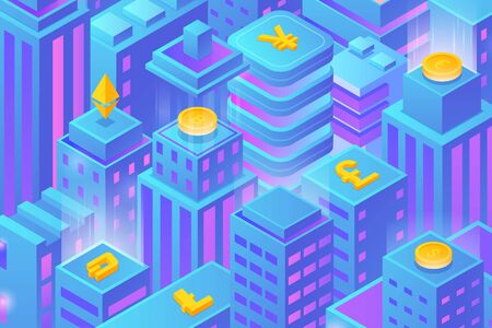 Isometric Flat Blockchain Cryptocurrency Market Skyscrapers City buildings Background vector design.