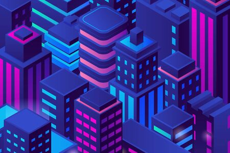 Isometric Flat Skyscrapers City in Night buildings Pattern Background vector design.