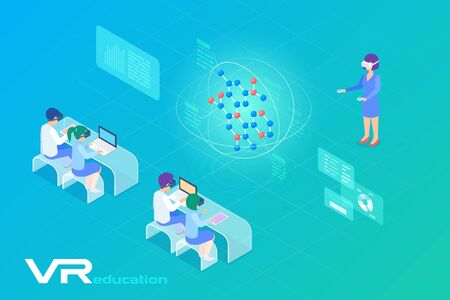 Chemistry Biology VR Education in Virtual Reality Isometric Flat vector illustration. Teacher and children learning DNA Molecule structure in Virtual Glasses.