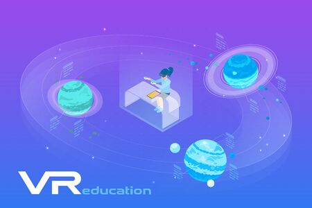 Astronomy Learning in Virtual Reality isometric flat vector illustration. Girl in VR Glasses sitting near the Planets in virtual space. 向量圖像