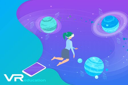 Astronomy Learning in Virtual Reality isometric flat vector illustration. Girl in VR Glasses flying near Planets in virtual space.