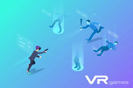 Man Boy Playing Isometric Shooter in Virtual Reality VR Flat Vector Illustration.