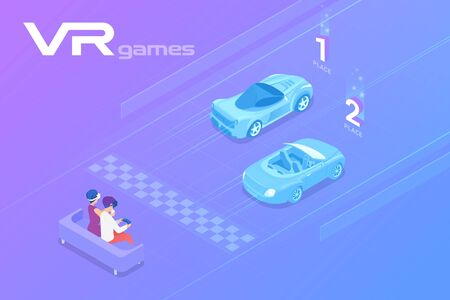 Friends Playing Car Racing in Virtual Reality VR Isometric Flat vector illustration. 向量圖像