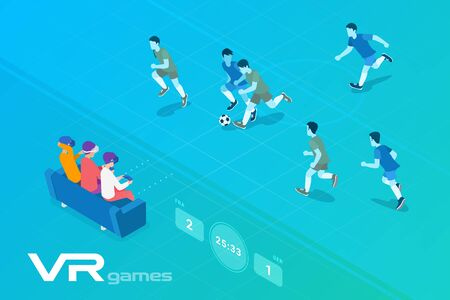 Friends Playing Isometric Football Soccer in Virtual Reality VR sitting on sofa Flat Vector Illustration. Ilustracja