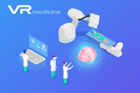 Medicine in Virtual Reality scanning Brain Isometric Flat Vector illustration