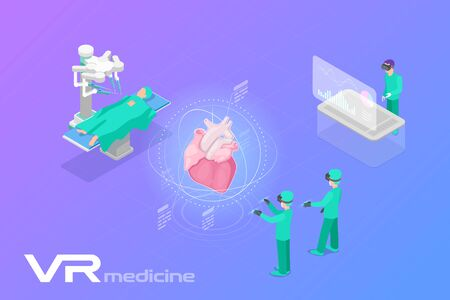 Medicine Surgery in Virtual Reality scanning Heart Isometric Flat Vector illustration