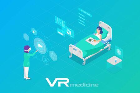 Medicina en Realidad Virtual escaneando Ilustración de Vector plano isométrico del paciente
