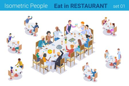 Isometric People sitting at Table Eating and Talking in Restaurant flat vector collection.