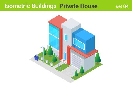 Isometric Cottage modern Private House with backyard garden Building flat vector collection. Illustration