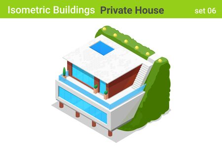 Isometric Cottage modern Private House with backyard garden Building flat vector collection. Stock Illustratie