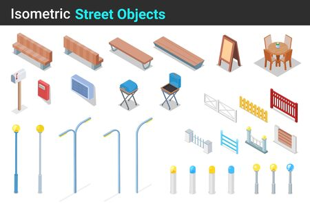 Isometric Street objects flat vector collection: Bench, Fence, Grill, Table, Chair, Mailbox, Lantern set.
