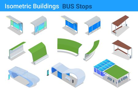 Isometric Bus stop station shelters flat vector collection Ilustrace