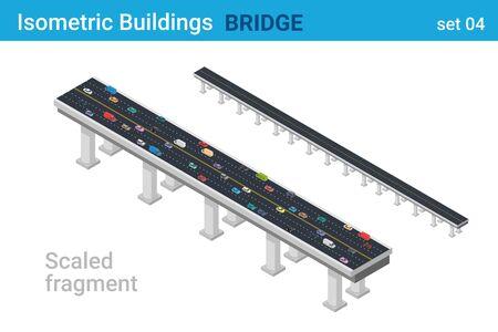 Flache Vektorsammlung der isometrischen Brücke