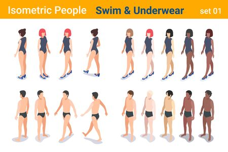 Isometric People in Underwear swimming trunks and swimsuit flat vector collection. Banque d'images - 137575170