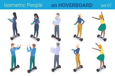 Isometric People on Hoverboard flat vector collection.