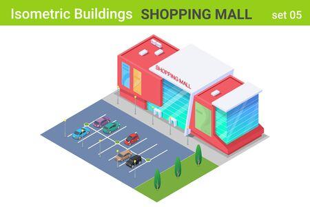 Isométrique Shopping Mall Center Building avec des voitures sur la collection de vecteur plat Parking