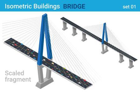 Isometric Bridge flat vector collection Illusztráció