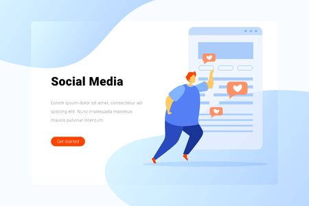 Man posts Likes web content Flat vector illustration. Landing Page design template.