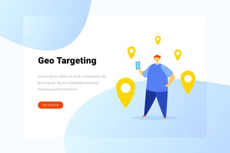 Man standing with Geo Target Points Flat vector illustration. Searching Geo Location concept. Landing Page design template. 일러스트