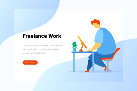 Man sitting and working with Notebook Laptop Computer Flat vector illustration. Freelance Business Landing Page design template. Foto de archivo - 138939817