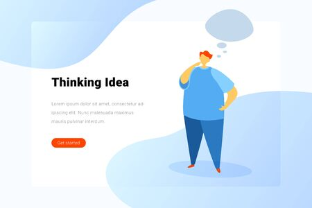 Man standing and Thinking bubbles Flat vector illustration. Brainstorm idea Landing Page design template.