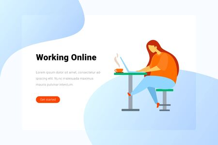 Woman sitting at Table with Notebook Laptop Flat vector illustration. Landing Page design template. Vektorové ilustrace