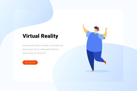 Man in Virtual Glasses Operating in Virtual Reality space Flat vector illustration.