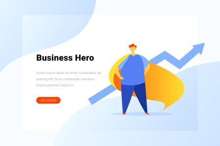 Super Hero Man with Cloak standing with Growing arrow Flat vector illustration. Grow Business Landing Page design template.