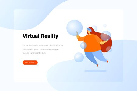 Girl in Virtual Glasses levitating in Virtual Reality space Flat vector illustration.