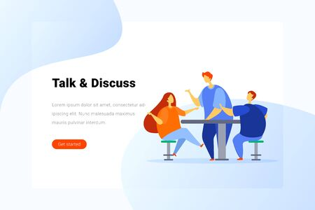Man and Woman talking sitting at Table with Smartphone Flat vector illustration