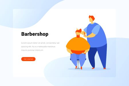 Customer Hipster in Barbershop Flat vector illustration concept.