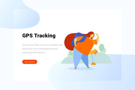 Woman Girl with Backpack hiking Flat vector illustration. 向量圖像