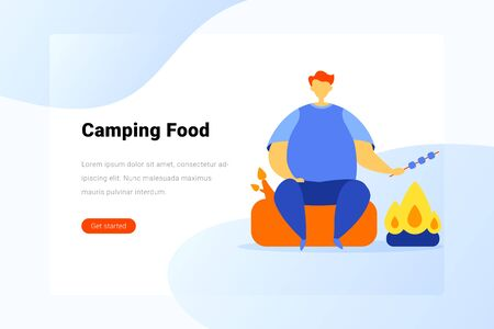 Man sitting near Campfire and cooking barbecue BBQ Flat vector illustration Ilustrace