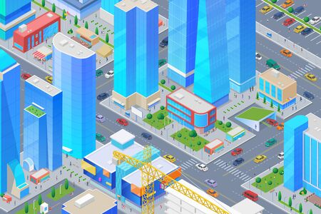 Isometric smart City with Skyscrapers, Shopping Mall buildings, streets, cars Flat vector illustration Ilustrace
