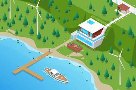 Isometric Villa house with Yacht on berth Sea Ocean beach with Wind Turbines Flat Vector illustration.