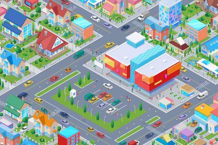 Isometrisches Einkaufszentrum in der flachen Vektorillustration der intelligenten Stadt.