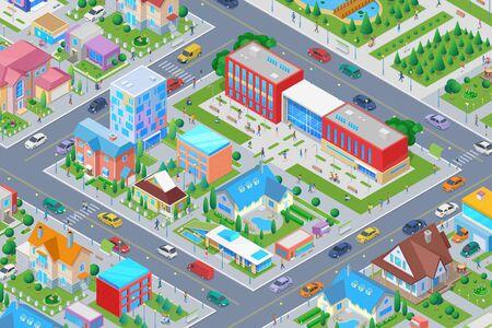 Escuela universitaria isométrica en ciudad inteligente Ilustración de vector plano. Ilustración de vector