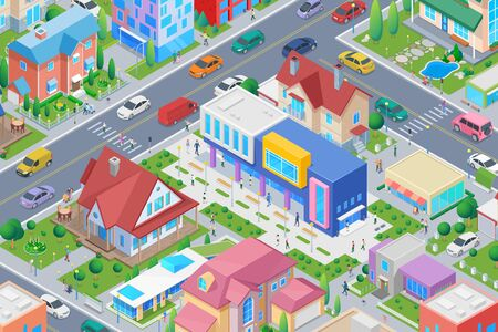 Isometric School University College in Smart city Flat vector illustration.