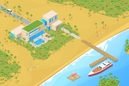 Isometric Villa house with Yacht on berth Sea Ocean tropical beach Flat Vector illustration.