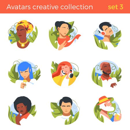 Flat People abstract different nationalities Avatar vector illustration Negative space style. Male Female Caucasian, Asian, Black characters Profile design.