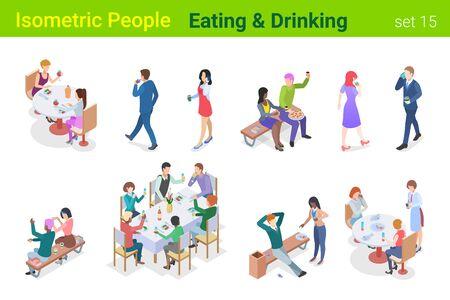 Personnes isométriques mangeant et buvant dans un restaurant ou une collection de vecteurs plats en plein air. Vecteurs