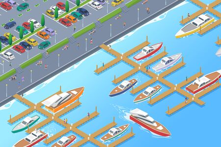 Isometric Boats Yachts on Pier Berth near embankment with Cars on Parking Flat Vector illustration